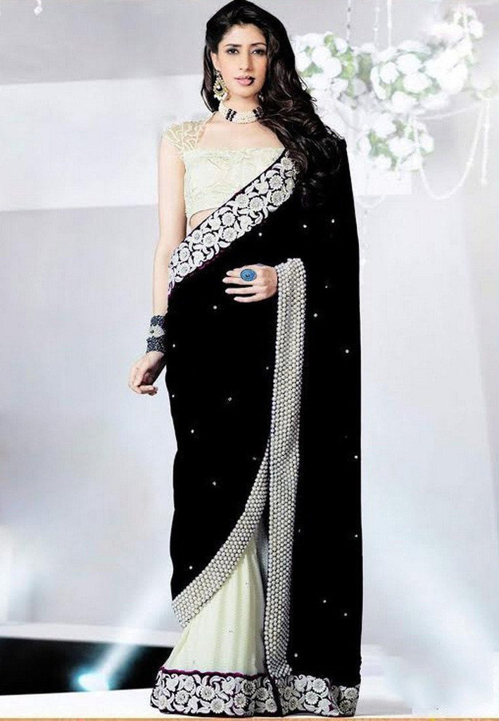 Black Color Chinon Saree - Ethnicyug