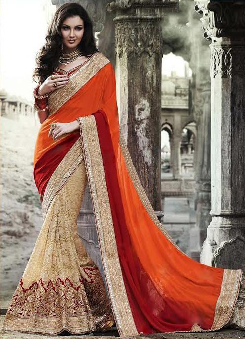 Orange Color Georgette Saree u00f8u00e5 u00e5