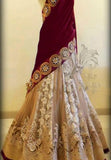 Off White Color Velvet Lehenga u00f8u00e5 u00e5
