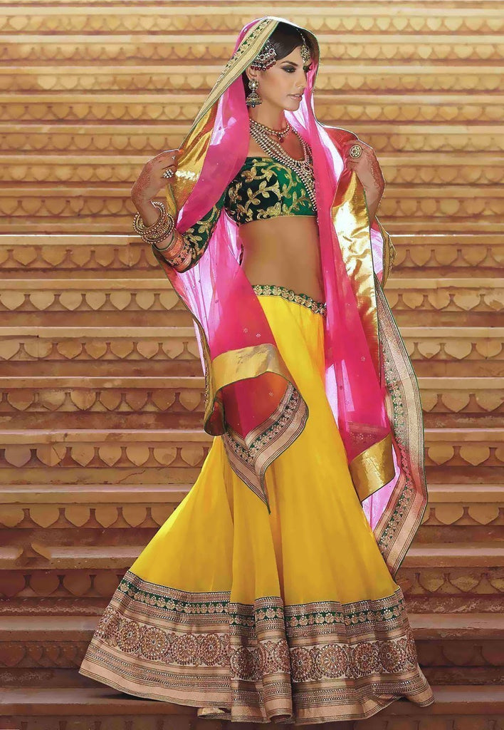 Yellow Color Net Lehenga u00f8u00e5 u00e5