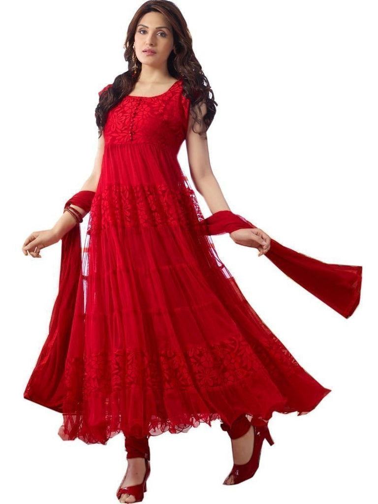 Narmada Fashion Red Semi stitched salwar suit u00f8u00e5 u00e5