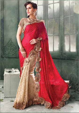 ShagunShop BEIGE AND RED Indian Pakistani Designer Bollywood Wedding Embroidered Saree u00f8u00e5 u00e5