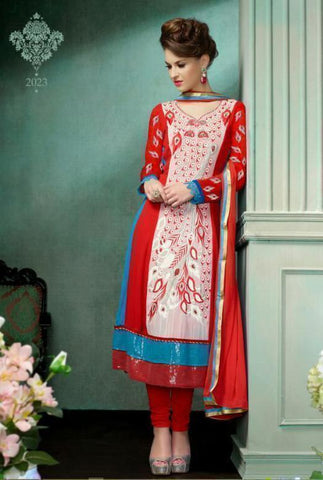 Red Indian Pakistani Bollywood Designer Georgette Salwar Kameez Ethnic Party Wear u00f8u00e5 u00e5