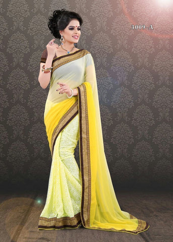 Yellow Indian Bollywood Designer Brasso+Georgette Saree u00f8u00e5 u00e5