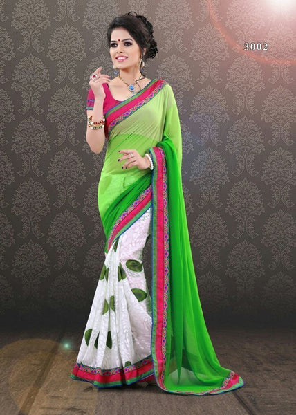 Parrot Green Indian Bollywood Designer Brasso+Georgette Saree u00f8u00e5 u00e5