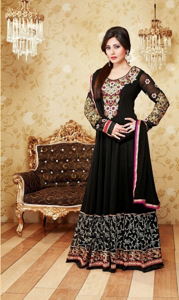 Black Indian Pakistani Bollywood Designer Georgette Salwar Kameez Ethnic Wear - Ethnicyug