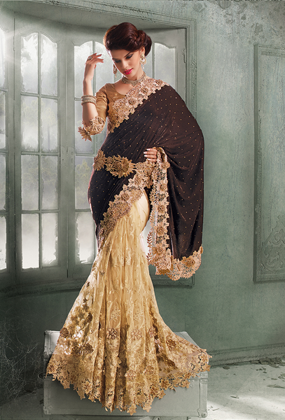 BROWN & BEIGE Indian Pakistani Designer Bollywood Wedding Embroidered Saree - Ethnicyug