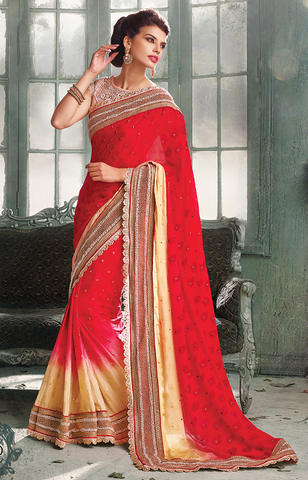 Creap Jaquard RED Indian Pakistani Designer Bollywood Wedding Embroidered Saree - Ethnicyug