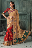 NEW RED & BEIGE Indian Pakistani Designer Bollywood Wedding Embroidered Saree u00f8u00e5 u00e5