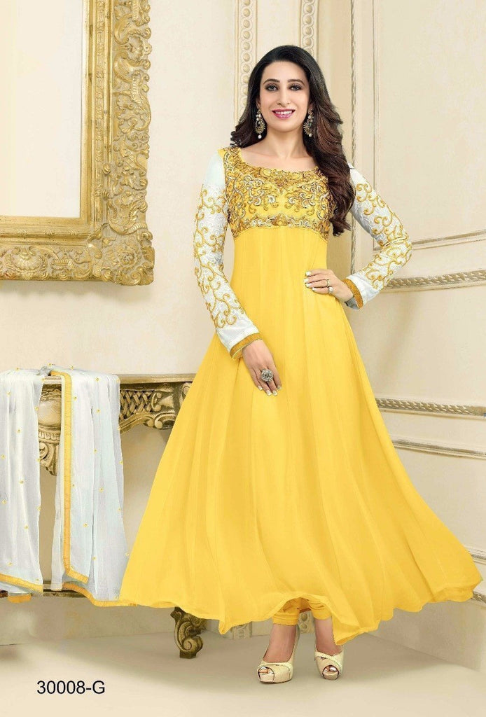 Yellow Faux Georgette Embroidered Semi Stitched Anarkali Salwar Suit u00f8u00e5 u00e5