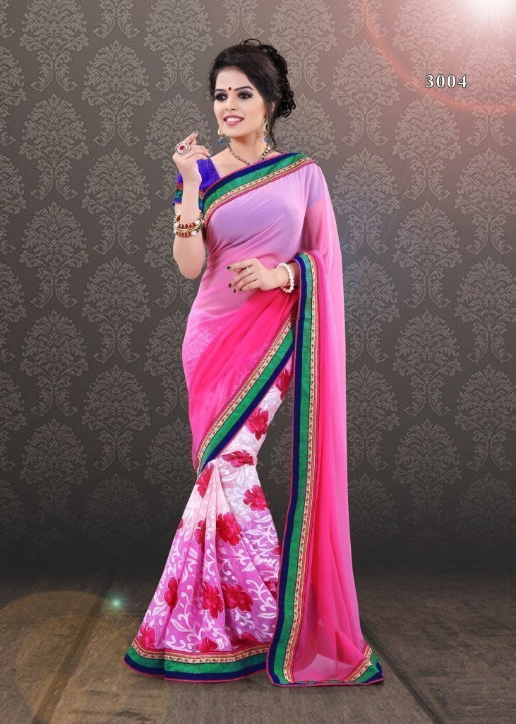 DIVA EMPORIO Beautiful Party wear Designer collection Floral Pink half saree - Ethnicyug