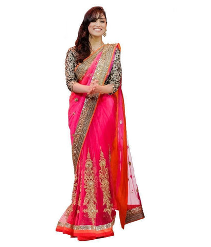 Heavy Embroidery Pink Net Designer Wedding Saree u00f8u00e5 u00e5