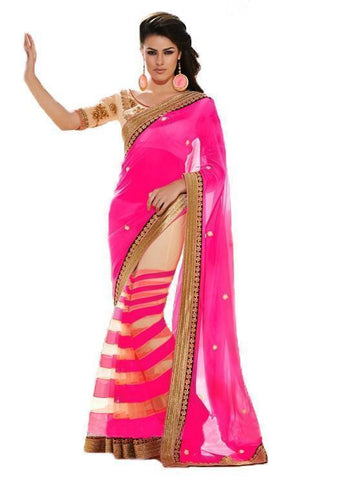 Pure Georgette Pink Patta Party wear Saree u00f8u00e5 u00e5