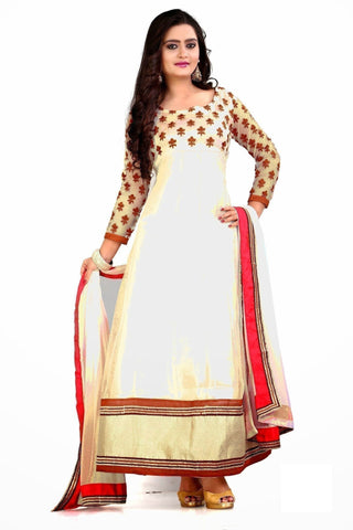 Traditional Wedding Wear Red White Emboidered Anarkali Dress u00f8u00e5 u00e5