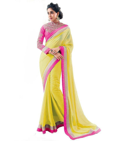 Bollywood Designer Party wear Yellow Chiffon Saree - Ethnicyug