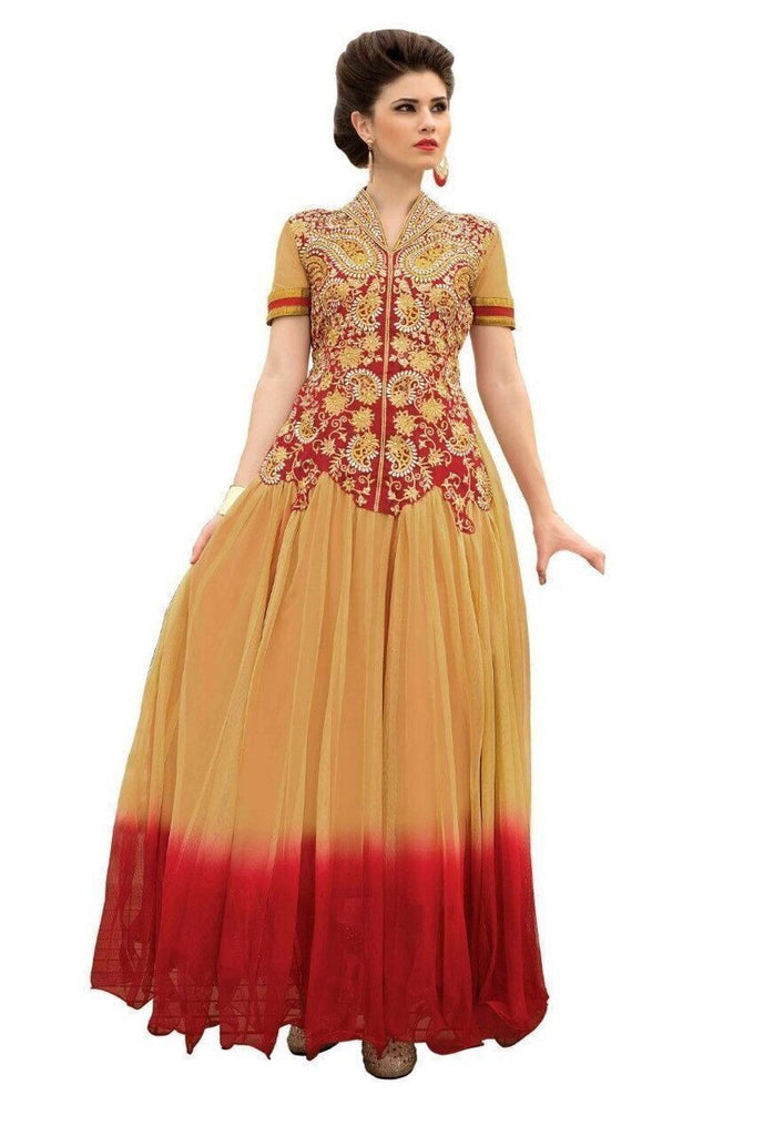 Red and Skin Brown Heavy Designer Gown u00f8u00e5 u00e5