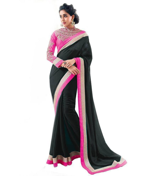 Stunning Black Chiffon Saree with Lace Border Jari Work u00f8u00e5 u00e5