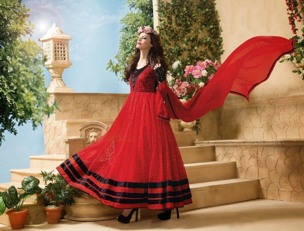 Full Ghera Royal Red Anarkali - Ethnicyug