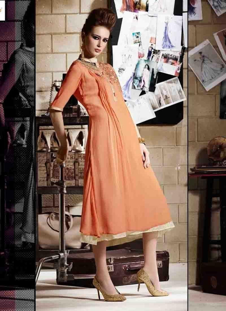 Peach Kurtis Readymade Embroidered - 34058 u00f8u00e5 u00e5