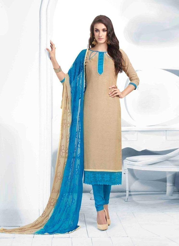 Beige Color Unstitch Embroidered Salwar Kameez - Ethnicyug