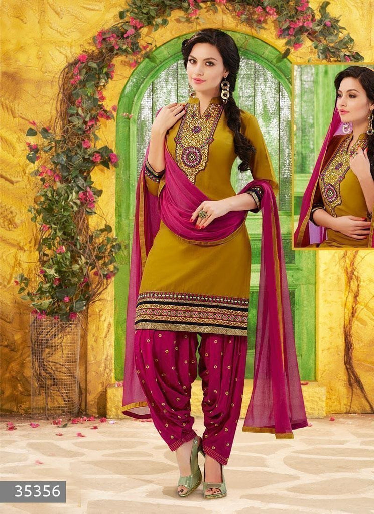 Yellow Color Unstitch Embroidered Patiala Salwar Kameez - 35356 u00f8u00e5 u00e5