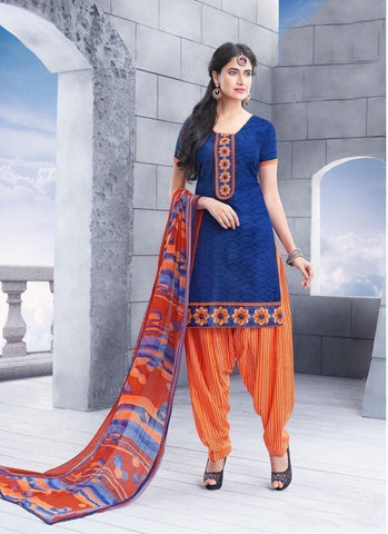 Blue Unstitch Salwar Kameez Border Lace Work - 36953 - Ethnicyug