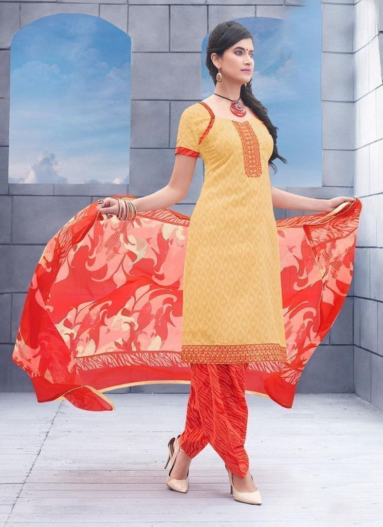 Cream Unstitch Salwar Kameez Border Lace Work - 36958 - Ethnicyug