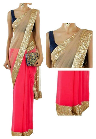 Beige Color Net Saree - Ethnicyug