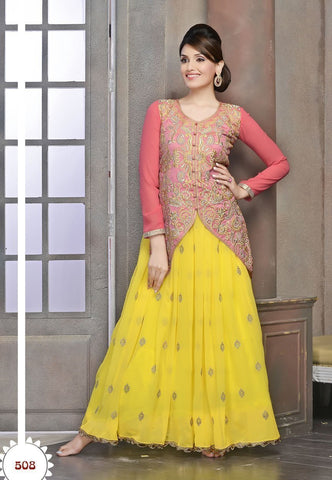Tantalizing Yellow Color Wedding Wear Designer Long Gown u00f8u00e5 u00e5