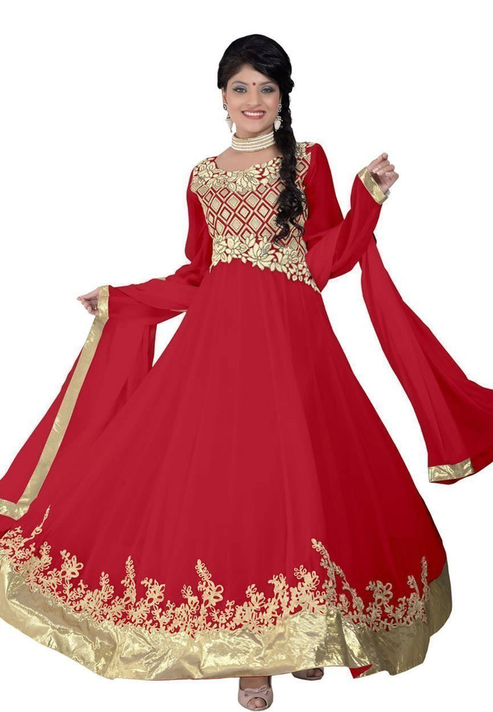 Flamboyant Red Color Wedding Wear Designer Long Length Anarkali - Ethnicyug