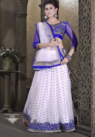 Attractive White Color Wedding Wear Designer Lehenga Choli - Ethnicyug