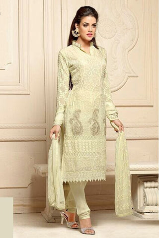 Beautiful Off White Semi Stitched Party Wear Salwar Kameez EBSFSK15503A - Ethnicyug