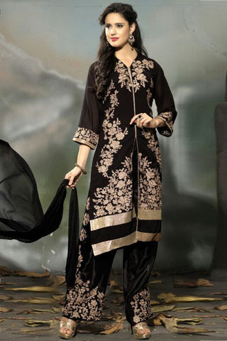 Marvelous Black Semi Stitched Party Wear Salwar Kameez EBSFSK15504C u00f8u00e5 u00e5