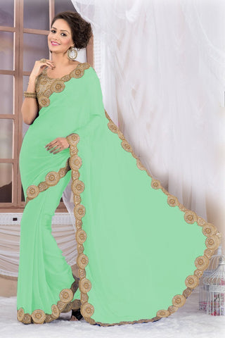 Gorgeous Green Georgette Saree EBSFS16502 - Ethnicyug