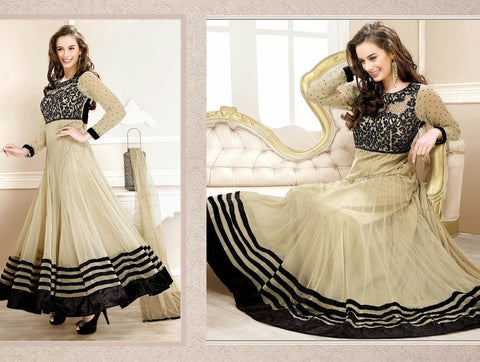 Evelyn sharma Cream Embroidered Ankle length anarkali suit - Ethnicyug