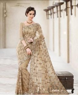 Golden Color Net Saree - Ethnicyug