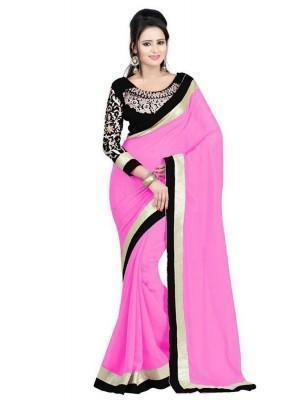 Pink Faux Georgette Lace Work Saree u00f8u00e5 u00e5