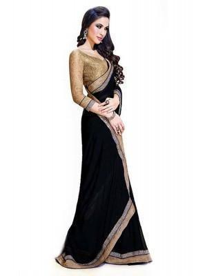 Black Color Georgette Party Wear Saree - Ethnicyug