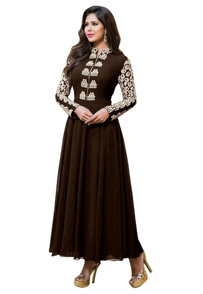 Brown Stunning Semi Stitched Faux Georgette Salwar Suit - Ethnicyug