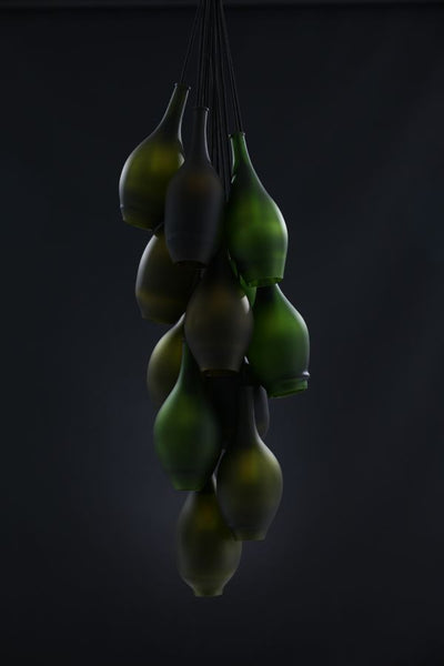 Three shades of Green Champagne Chandelier