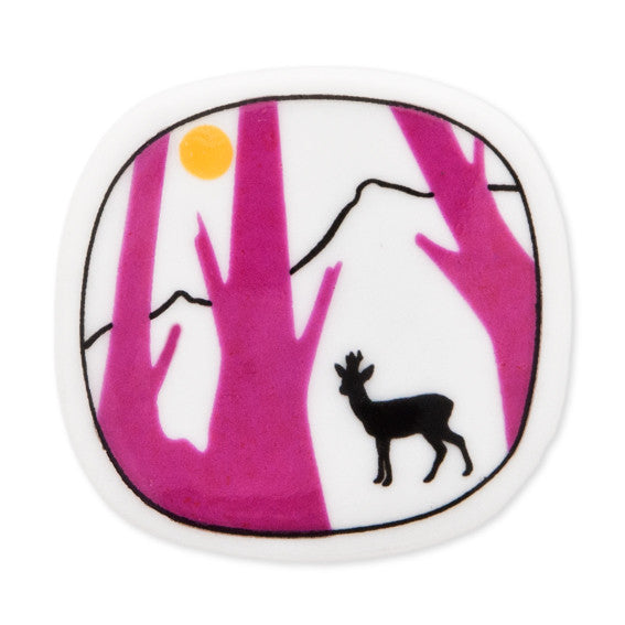Brooch Deer And Pink Trees