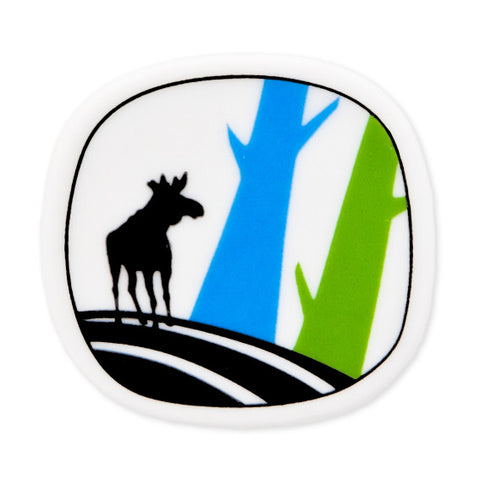 Brooch Moose And Blue And Green Trees