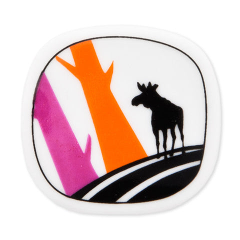 Brooch Moose And Orange And Pink Trees