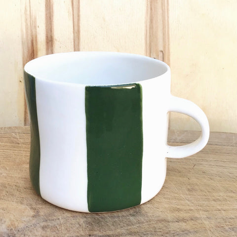 Alberta, cup with a handle, dark green stripes, large size