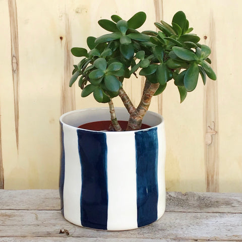 Striped flower pot, large size, teal blue
