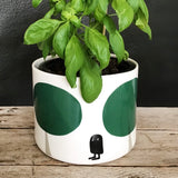 Flower pot, large size, bold green trees and owl