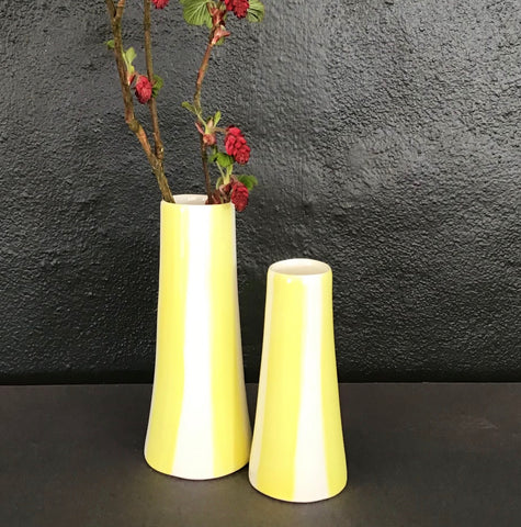 Conical striped vase, a pair, yellow