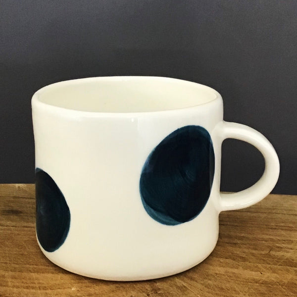 Alberta, cup with a handle,  big teal dots, large size