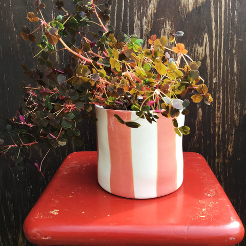 Striped flower pot, large size, salmon
