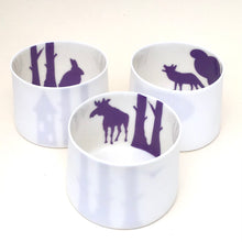 Load image into Gallery viewer, 3 Little Tilley tealights, moose, wolf and rabbit, purple